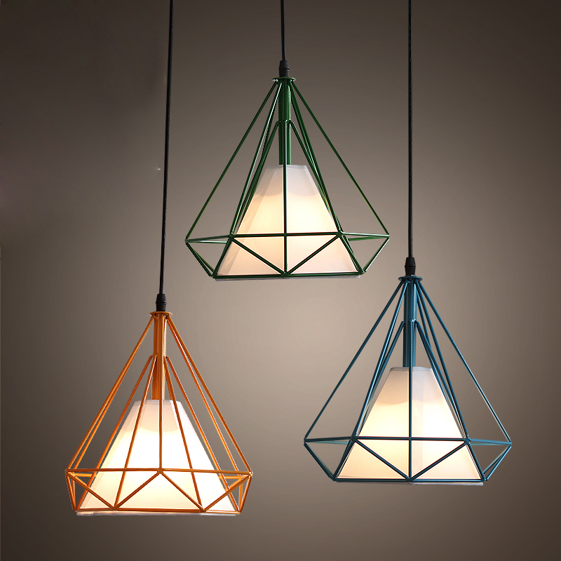 Retro loft colorful diamond pendant lamp with LED bulbs  dinning room light coffee bar lamp home decoration lighting