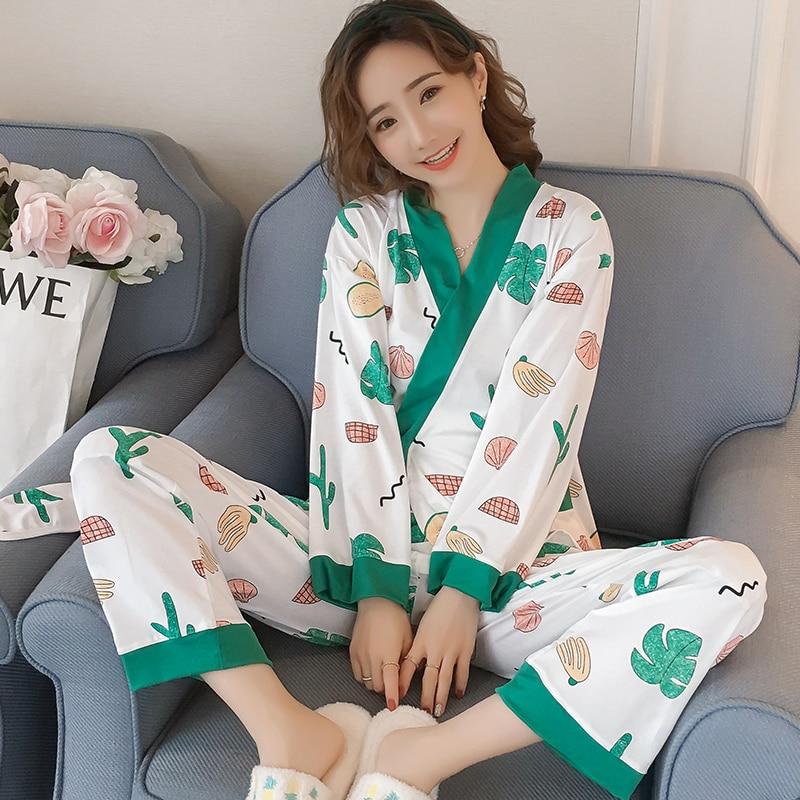 High Quality 2019 WAVMIT Long Sleeve   Pajamas     Set   Two Pieces   Set   Women Sleepwear Sexy Nightwear for Women Sleepwear Long Pant