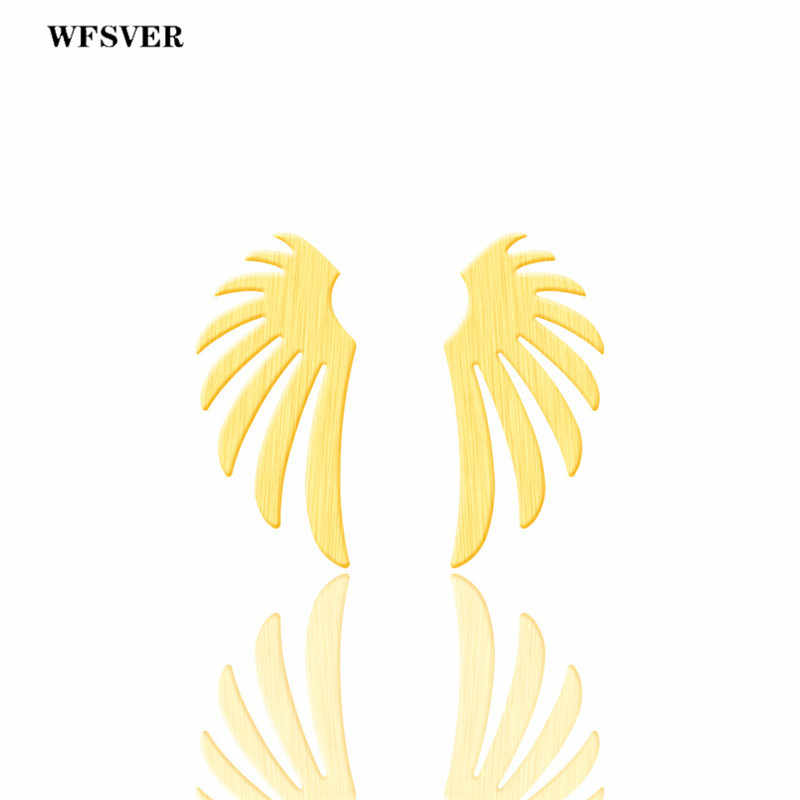 WFSVER Angel Wings Stud Earrings For Women Gold Silver Color Stainless Steel Ear Charm Statement Earring Stud Jewelry Gift