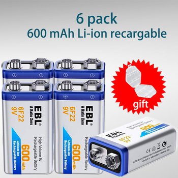 EBL 5 Units 9V 600Mah 6f22 Rechargeable Battery High Capacity Rechargeable Lithium battery for Electric Guitar&Remote Control Rechargeable Batteries
