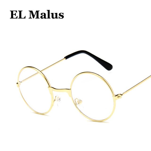 fa5b3022f51d0  EL Malus  Retro Pequeno Bonito Rodada Armação de Metal Óculos De Sol De  Ouro