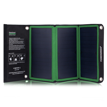 PowerGreen 21w Portable Waterproof Solar Energy Panel Powered Charger for Camping Hiking