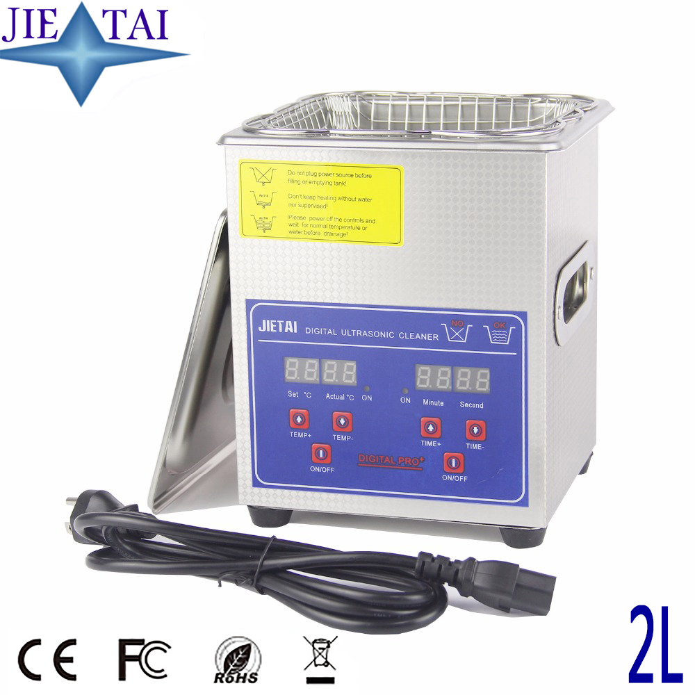 JIETAI Digital Ultrasonic Cleaner Bath 2L 40kHz 60W Metal Basket Ultrasound Machine Dental Jewelry Watches Glasses Tool Parts кольца silver wings 010001 218 71