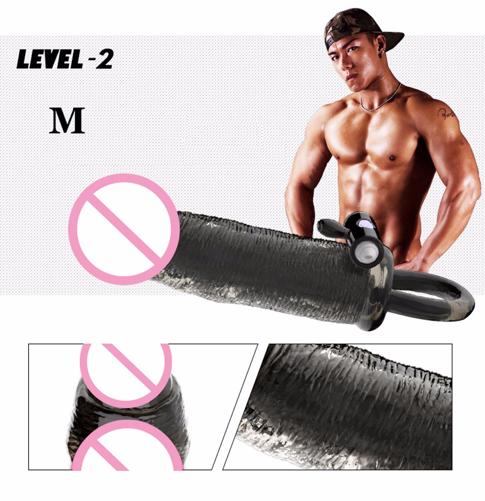 Please me Vibrating Penis sleeve Penis enlargement Penis extender Reusable Condoms bomba peniana pro extender Sex toys for men 5