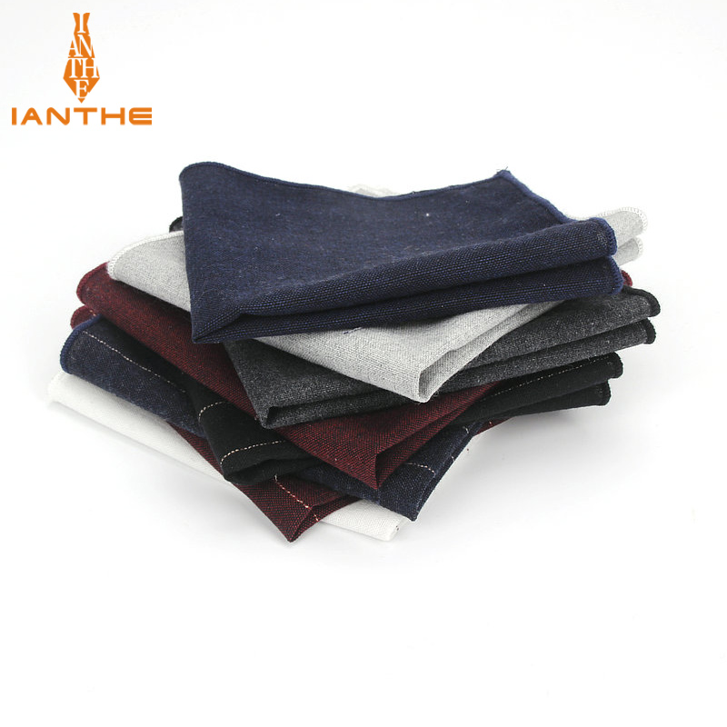 Men Brand Handkerchiefs Pocket Square 100% Cotton Mens Striped Solid Cravata Hankerchief White Black Simple Design Hanky