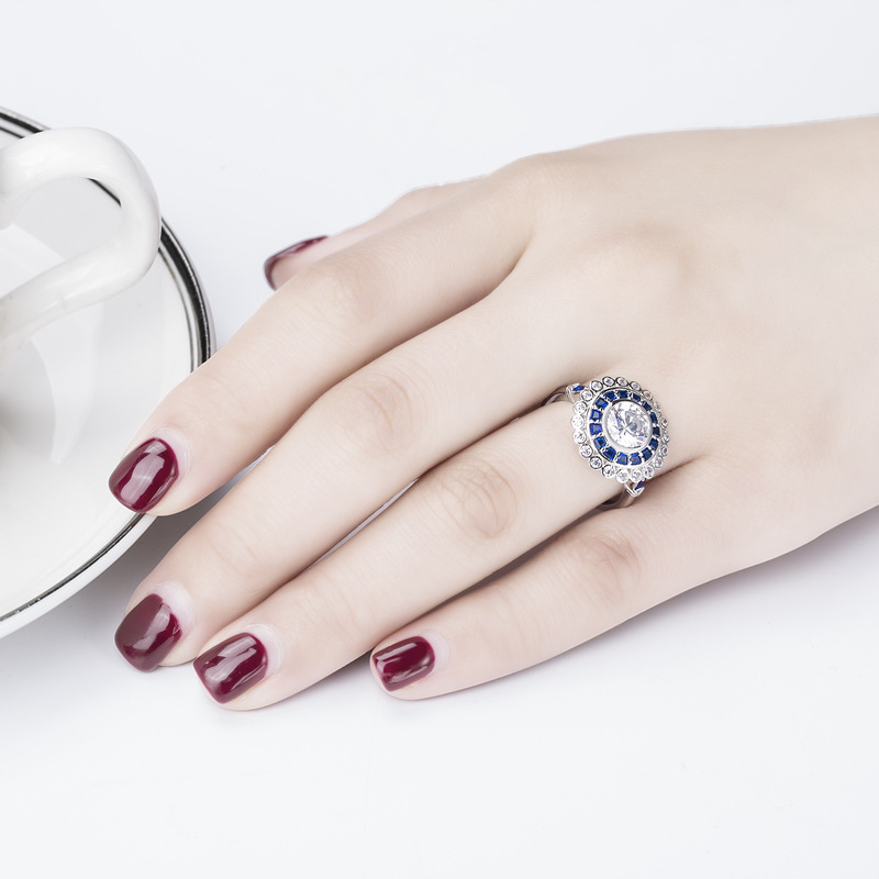 Anillo no falso 925 S925 anillo de plata de ley SONA diamante NSCD auténtico raro metal boda personalizado VVS quilate real zafiro-in Anillos from Joyería y accesorios    1