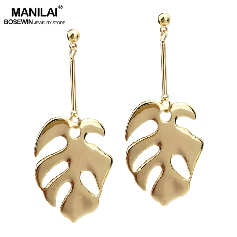 MANILAI Bohemian Big Zinc Alloy Leaf Dangle Earrings For Women Statement Jewelry 2018 Long Earrings Wholesale Eardrop