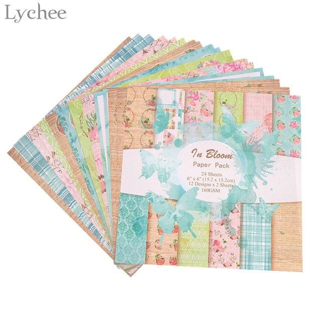 Lychee 24 Sheets Scrapbook Paper Craft DIY Origami Art Card Making Photo Album Scrapbooking Pad