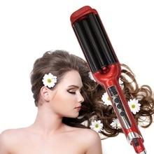 Ferro de ondulação do cabelo 3 barris display lcd modelador de cabelo rolos cerâmica ondulação onda curling rolo varinha ferramentas estilo