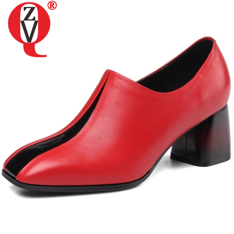 ZVQ women genuine leather high heels square toe woman pumps 2019 spring new style ladies thick