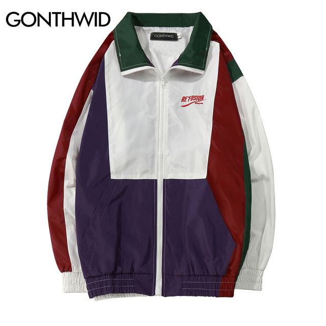GONTHWID Vintage Color Block Jackets 2018 Spring Autumn Casual Patchwork  Embroidery Full Zip Up Windbreaker Jacket fb7f4a97d65