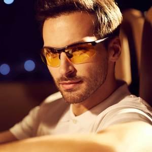 Image 2 - NALOAIN للرؤية الليلية نظارات عدسات قطبية مكافحة وهج UV400 إطار معدني الأصفر القيادة نظارات للرجال النساء سيارة سائق 8177