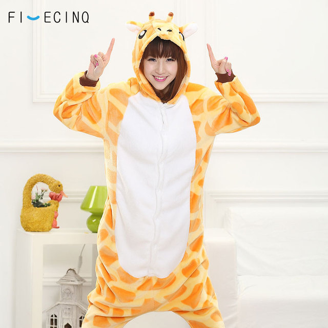 Giraffe Kigurumi Onesie Women Men Adult Pajama Animal Cosplay Costume Funny  Cute Halloween Suit Festival Party Outfit Jumpsuit a24ecc44b