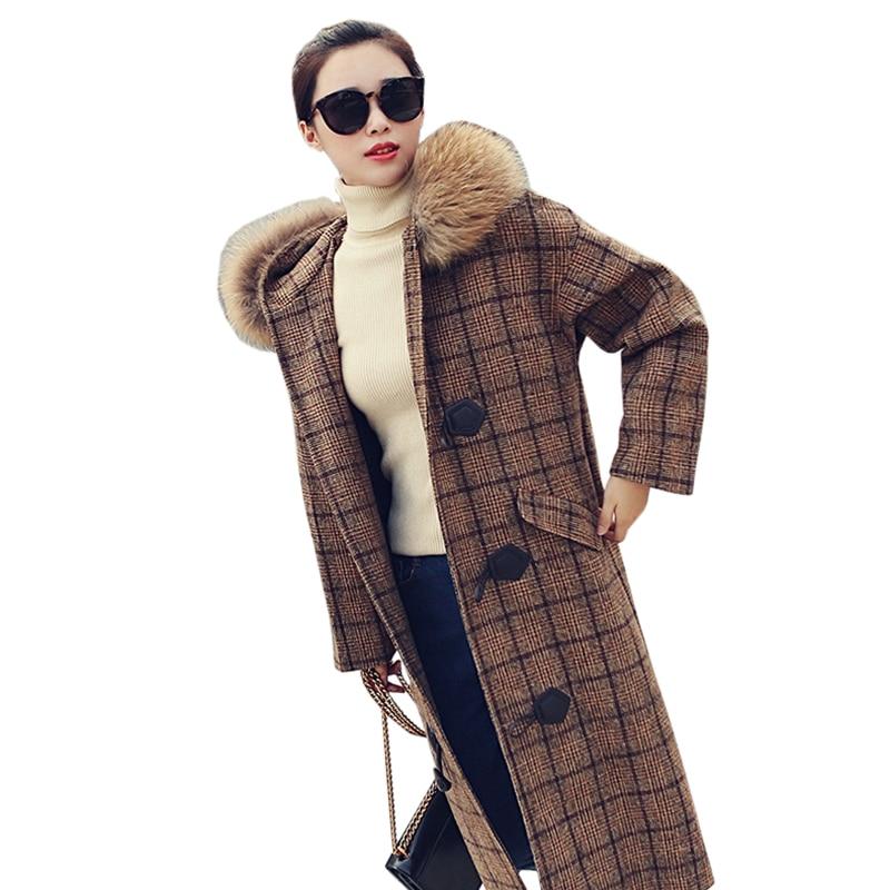 Collar Nouveau Chaud De 2018 Col Plaid Modèle À D'hiver Laine Coréen Lu460 Épais Mode Femmes Collar Fur Survêtement Des Veste Fourrure true Capuchon Fake fFgw8qZx
