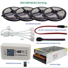 DC12V 5050 RGB СВЕТОДИОДНЫЕ Полосы Света Водонепроницаемый 60led/m Диод Гибкой Ленты 10 м 15 м 20 м + Смарт Wifi Led Контроллер + Питание