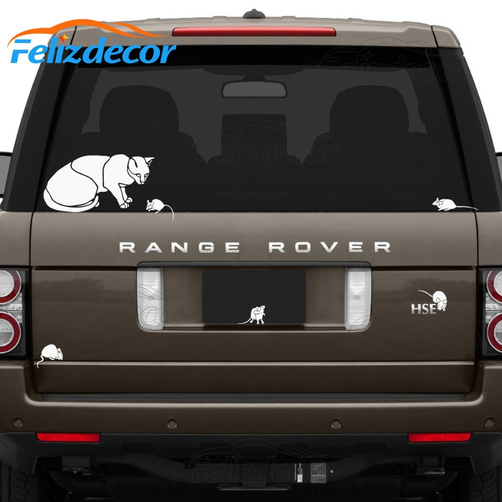 Funny Car Decor Sticker Cat And Mice Car Decal Waterproof