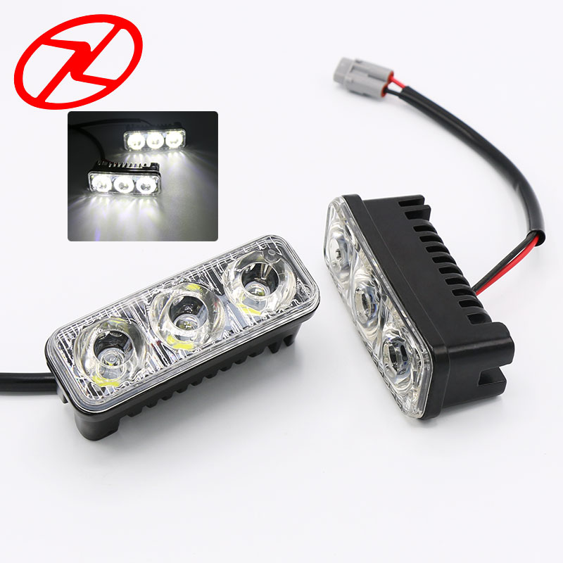 2Pcs 6 Led High Power 9W Car Universal Light Source Waterproof DC 12V DRL White color Daytime Running Light Auto Lamp