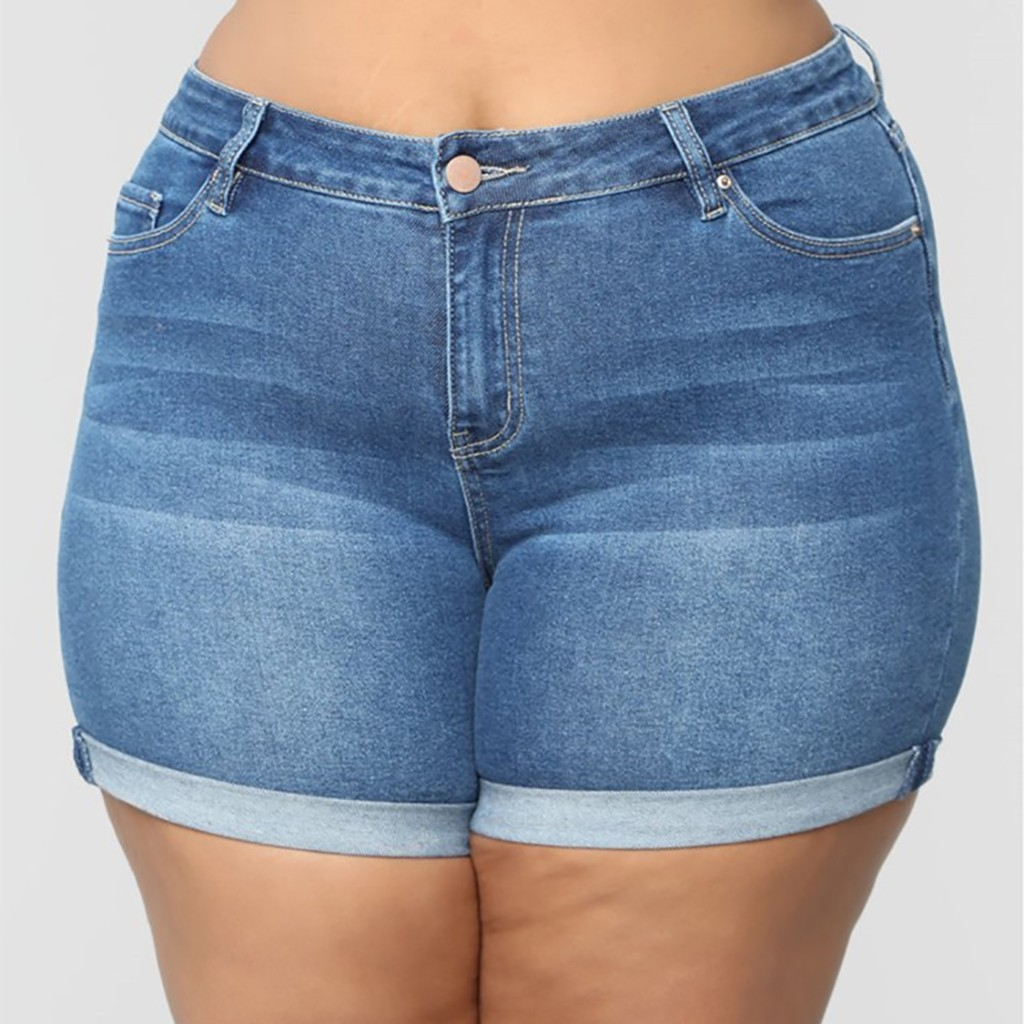 Euro Style Women Denim Shorts Vintage  Cuffed Jeans Shorts Street Wear Sexy Summer Spring Autumn Shorts Queen Size Jeans 7.1A