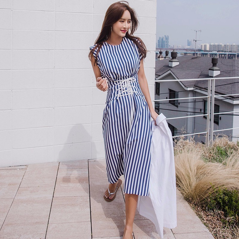 39b621fda9f4c US $42.0 |TWOTWINSTYLE Lace Up Dress For Women Striped Sleeveless Tunic  High Waist Long Holiday Dresses 2018 Summer Fashion Korean Clothes-in  Dresses ...