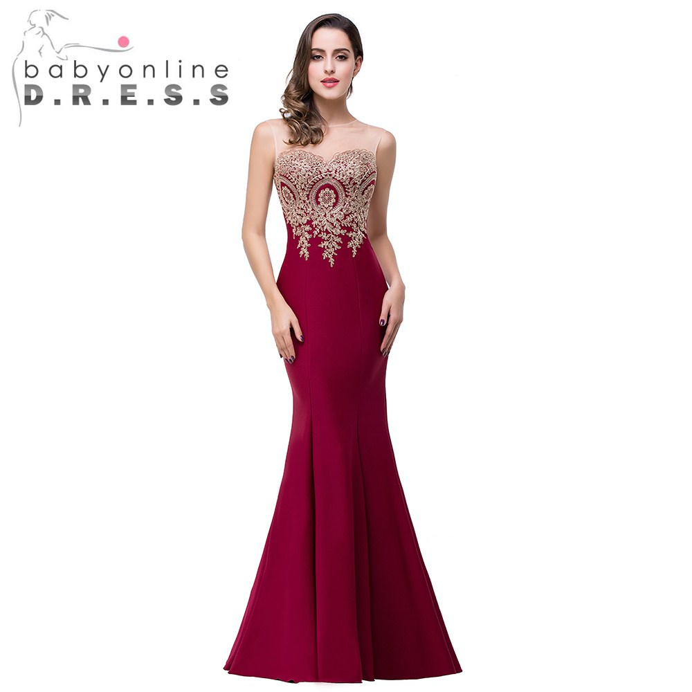 2017 hot sale sexy sheer 12 colors appliques burgundy for Dresses for wedding party