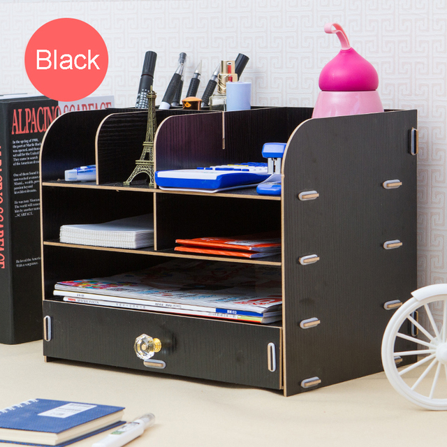 Charming Creative Wood Office Desktop Storage Box Stationery Storage Box Waterproof  File Data Shelf