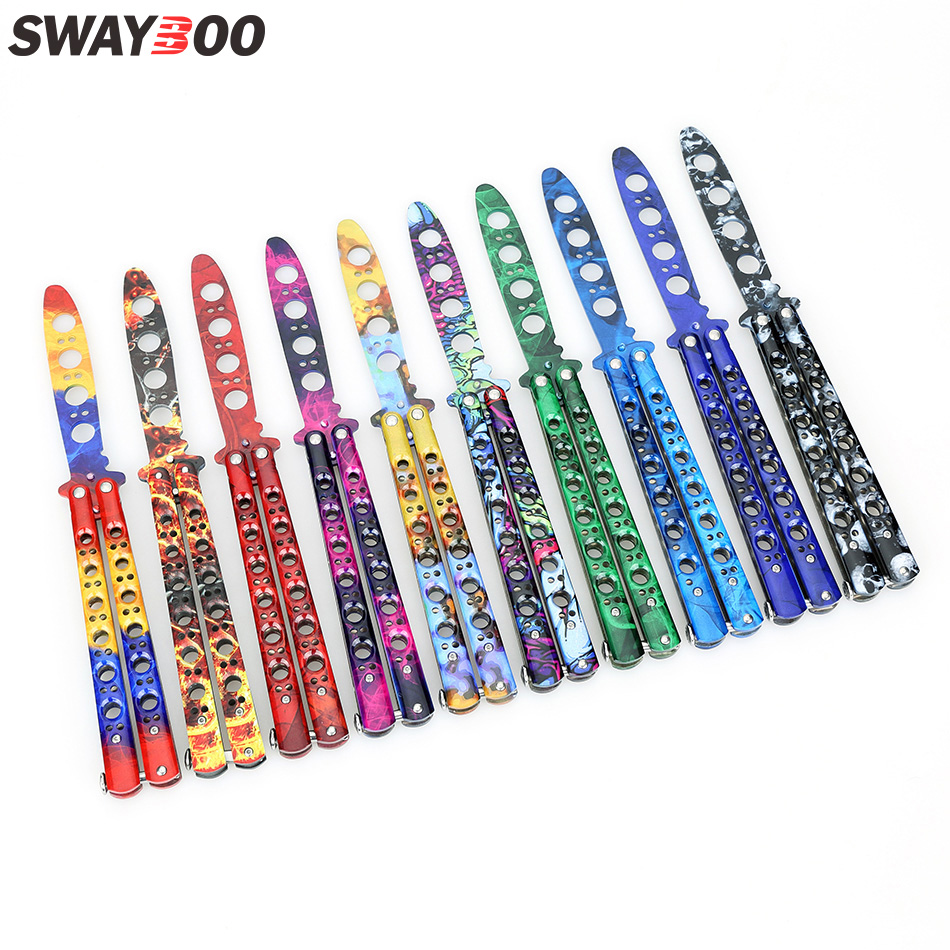 Swayboo CS GO folding game knife butterfly knife trainer colorful dull blade no edge tool practice butterfly in knife