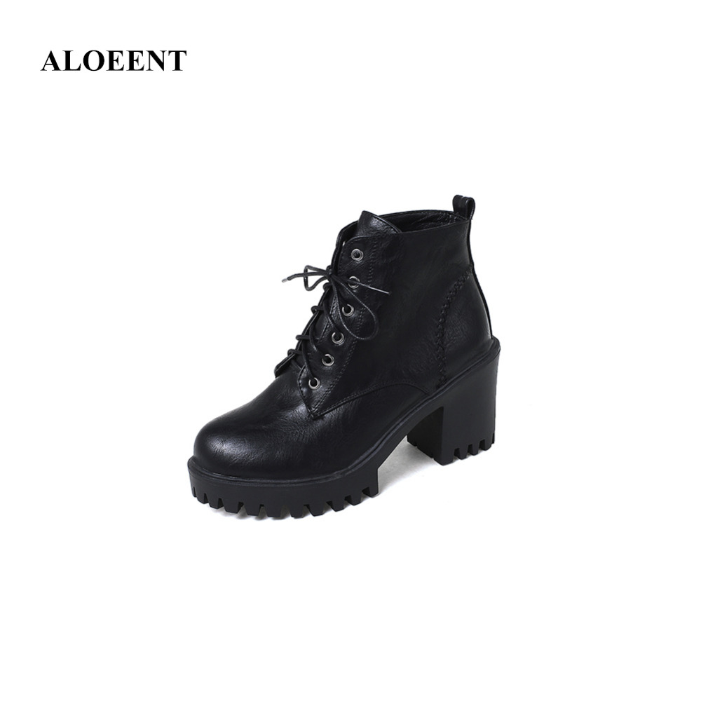 ALOEENT Winter Warm British Style Martins Motorcycle Boots Lace-Up Round Toe Fretwork Heels Cross-Tied Ankle Shoes For Women british style lace up and round toe design women s boots