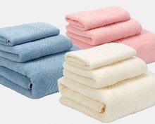 New 3-Pieces Thicker Stripe Pattern Soft Cotton Towel Set Bathroom Super Absorbent one Bath Towel Face Towels Square Scarf floral pattern face bath towel 100
