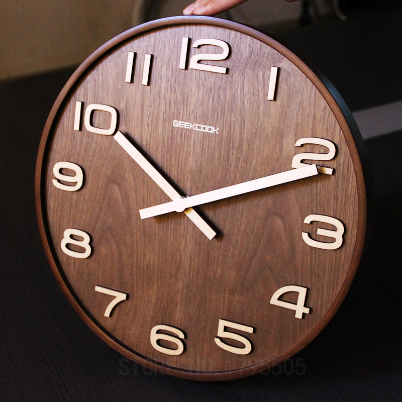 14 Inch Wall Clock Simple Bamboo Watch Living Room Study Time Bar Wall Clocks Modern Design Home Bedroom Decor