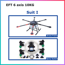 EFT 6 axis 10KG 10L water tank spraying system gimbal for DIY Agricultural multi-rotor UAV drones pesticides