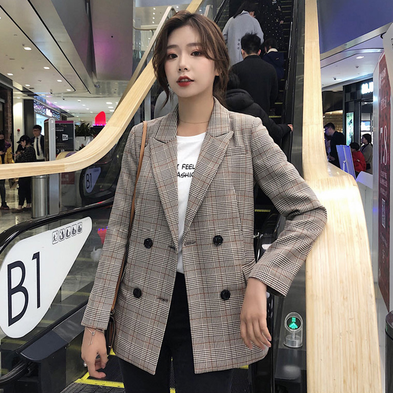 Women Blazer Jacket Plaid Chic Outerwear Female Elegant Double-Breasted Casual Notched