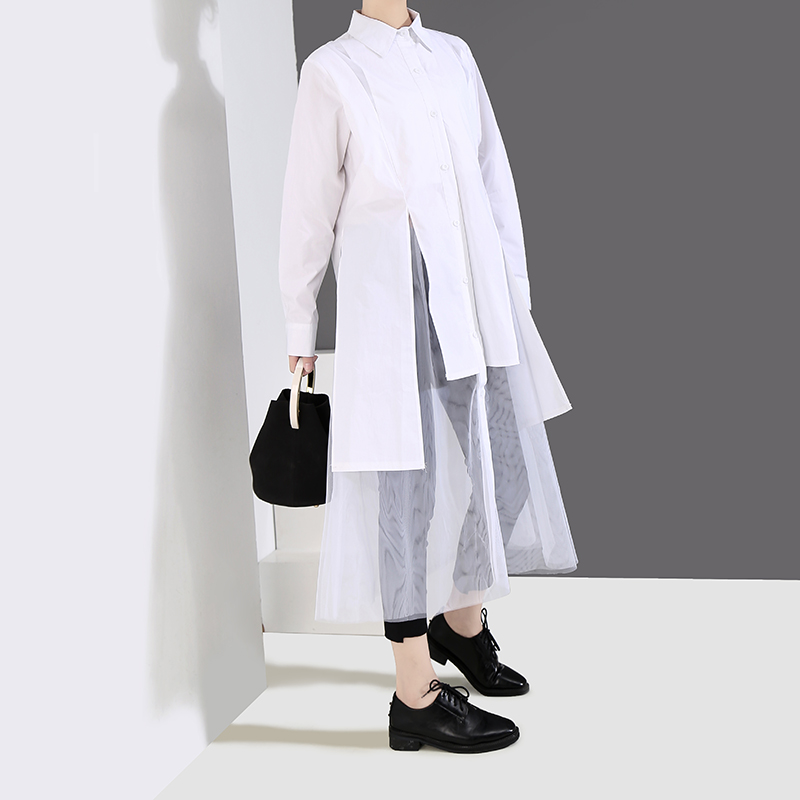 Image 4 - New 2019 Women Solid Black White Shirt Dress Long Sleeve Long 