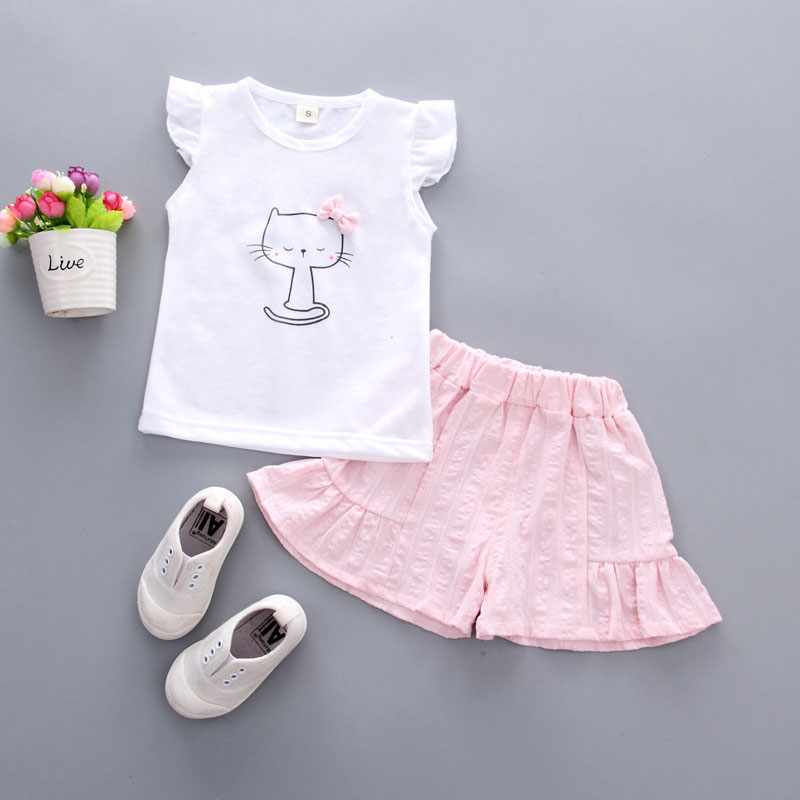 Summer Top+ Pant 2pcs Infant Clothing Cartoon Bownot Cute Cat Print Set Newborn Solid Sleeveless kids Baby Girl Set Clothes