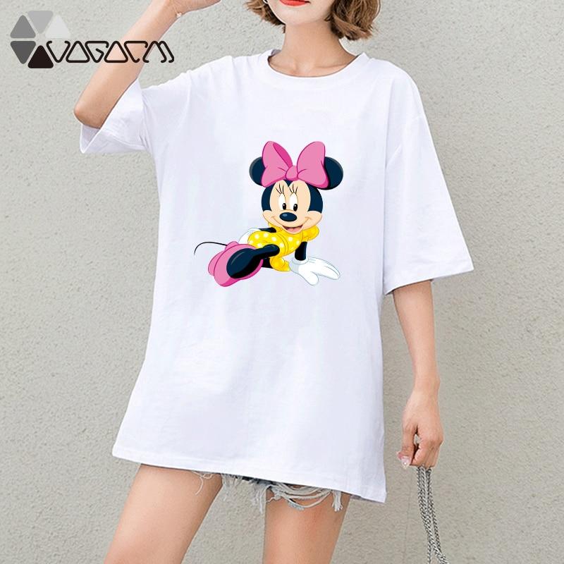 купить!  Летняя одежда женская сексуальная минни микки маус топы с коротким рукавом белый свободный мультфил