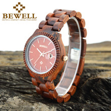BEWELL Top Quality Antique Natural Sandalwood Band Watch For Ladies Quartz Wrist Watches Wooden Clock For Women Relojes 112A
