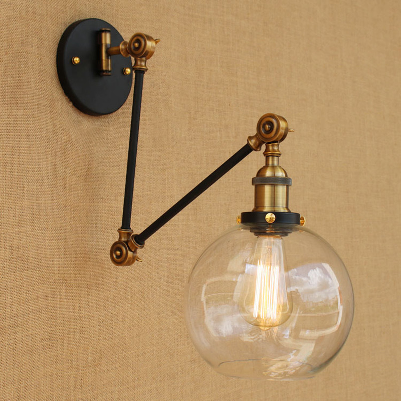 Fold Long Arm Ball Glass Wall Lamp Country Retro Home Deco Wall Decor Wall Light Living Room Bedroom Bathroom Cafe Led Wandlamp