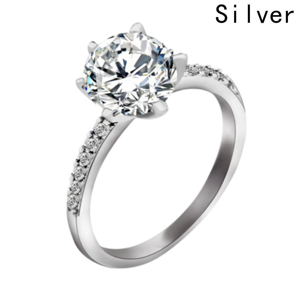 Classic Engagement Ring 6 Claws Design White Cubic Zircon Female Women Wedding Band CZ Rings Jewelry