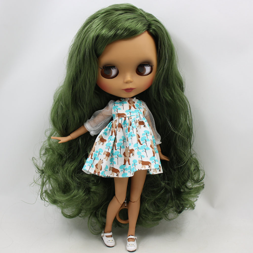 ICY Nude Blyth Doll No BL4299 Green hair side part Black Matte face Joint body 1