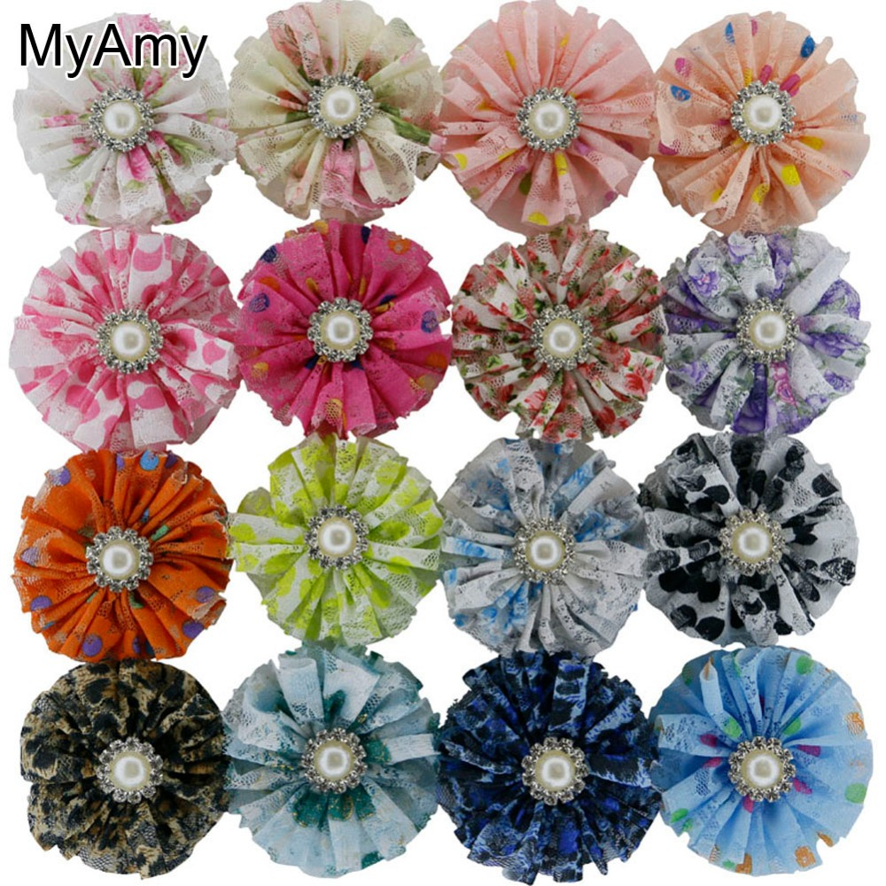 MyAmy 48pcs/lot 3 Printed Lace Flowers With Pearl Rhinestone Girls Artificial Flowers For Shoes/Hair Accessories Free Shipping