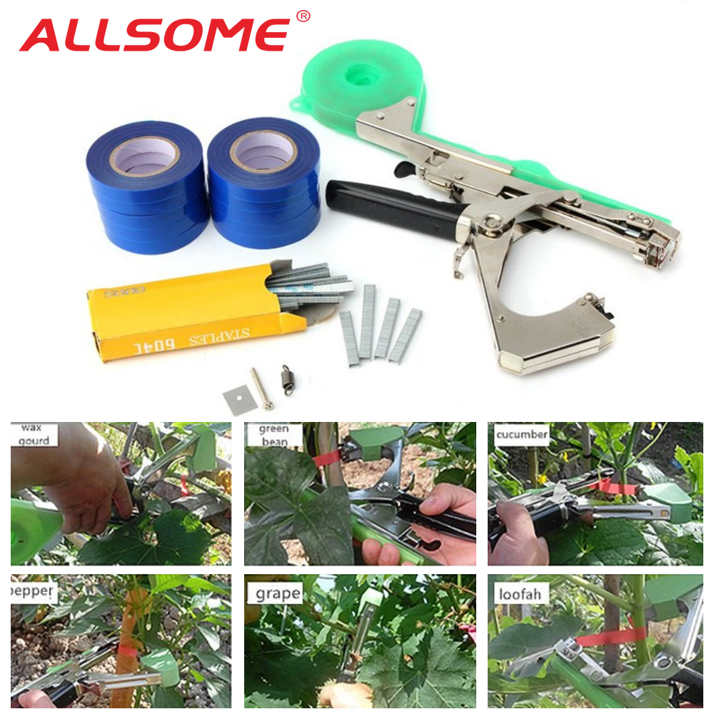 ALLSOME Garden Tool Plant Tying Tapetool Tapener Machine Branch Hand Tying Machine Packing Vegetable Stem Strapping Pruning Tool(China)