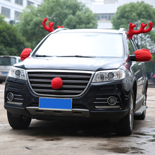 Funny Christmas Car Decoration Toy Windows Reindeer Antlers Red Nose Set Home Party Decoration Festive Supplies