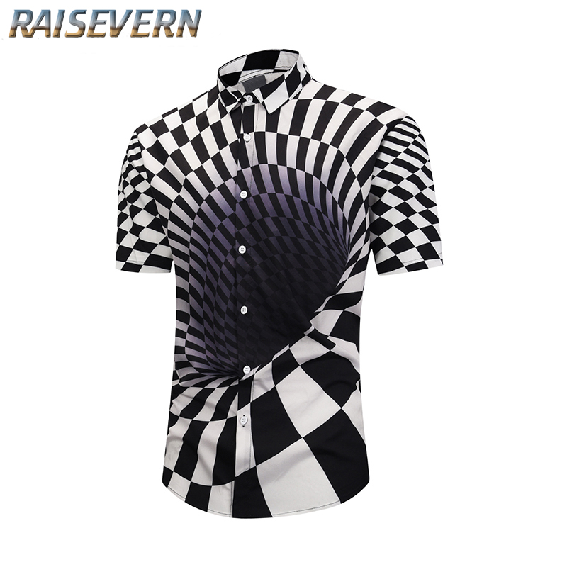 RAISEVERN Plus Size 3xl Men Shirt Long Sleeve 2019 Black Streetwear Men Clothing Printed Mens Shirts Casual Man Fashion 2019