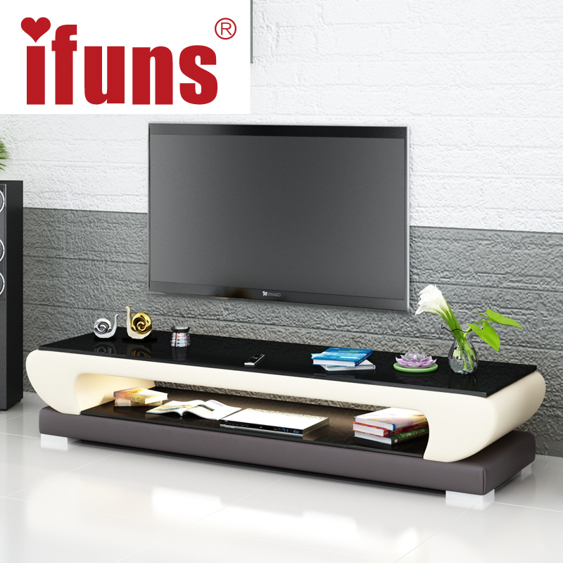 IFUNS New Design Modern White Black Brown Leather Tv Stand,tv Table  Furniture,tv Meubel Glass Top Tv Cabinet LED Right (fr) In TV Stands From  Furniture On ...