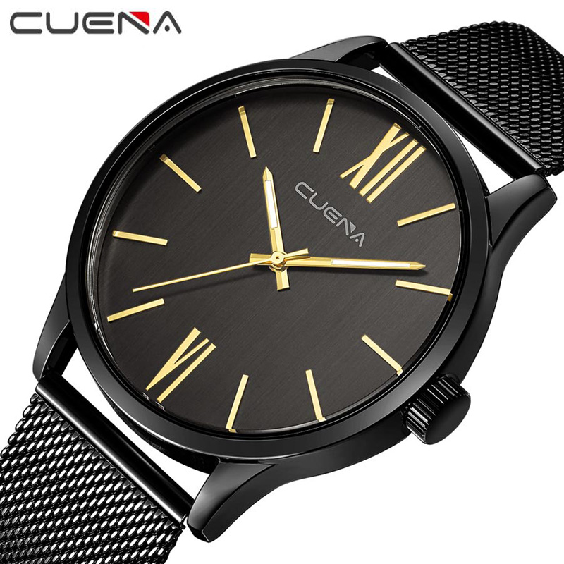 Fashion Mans Ultrathin Steel Quartz Watches Luxury Waterproof Male Wristwatches Relogio Masculino Top Brand CUENA 6642G Clock mige 2017 new hot sale top brand lover watch simple white dial steel case man watches waterproof quartz mans wristwatches