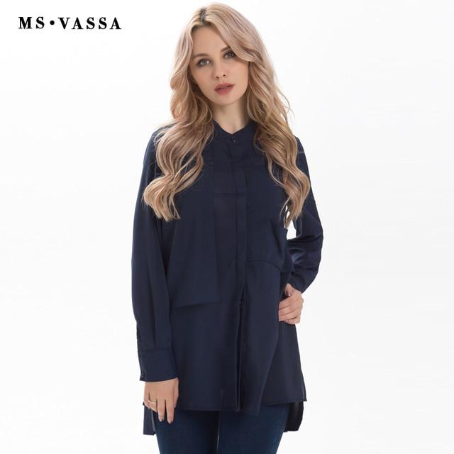 ecbd0c84697 MS Vassa Весна Рубашки женские топы 2017 модные повседневные длинные  двухэтажный блузка длинные рукава v-