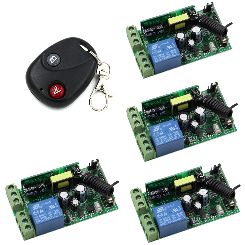 Hot Sales AC 85V 110V 120V 220V 250V 1CH Wireless Remote Control Switch System 4*Receivers & Transmitter Distance 20-200m ac 250v 20a normal close 60c temperature control switch bimetal thermostat