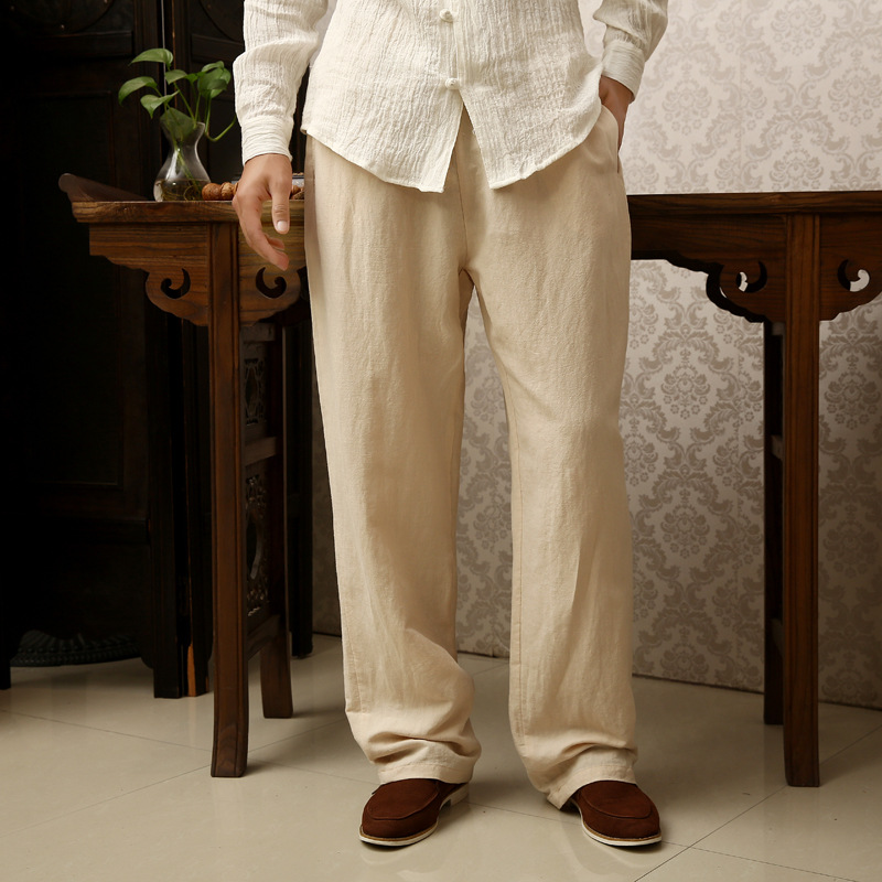 87 pantalon en lin noir pour hommes pantalon de survêtement homme confortable pantalon droit bleu décontracté grande taille 6XL 3XL