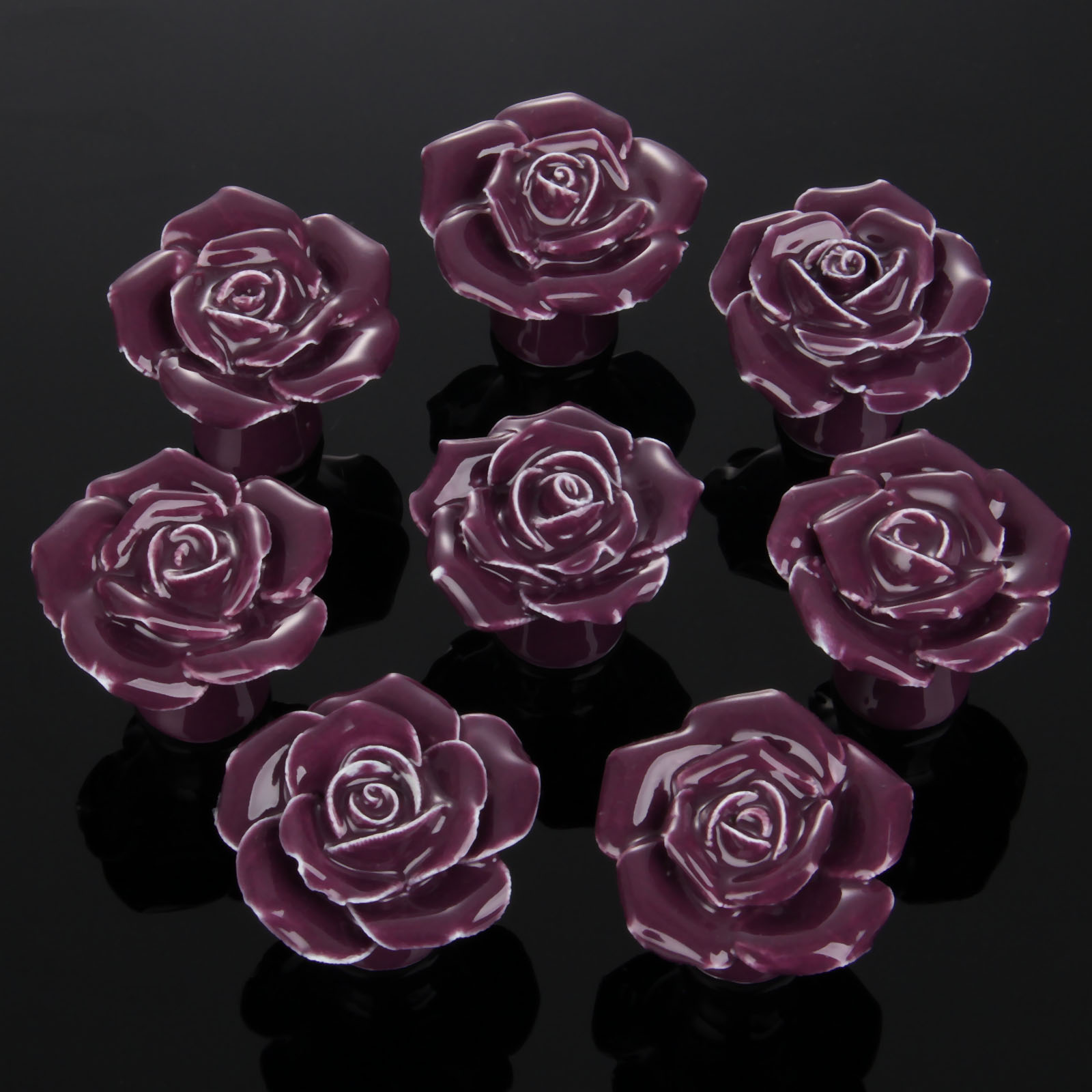 8Pcs Furniture Handles Ceramic Cabinet Knobs and Handles Door Cupboard Drawer Kitchen Pull Handles Furniture Fitting Purple Rose furniture drawer handles wardrobe door handle and knobs cabinet kitchen hardware pull gold silver long hole spacing c c 96 224mm