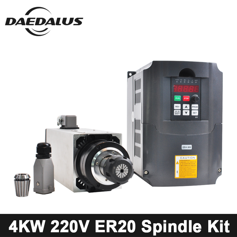 4KW CNC Spindle Motor 220V Air Cooled Spindle Motor ER20 Collet Chuck + 4KW 220V VFD Inverte For Engraver Milling Machine Tools free shipping cnc spindle 2 2kw 220v 110v air cooled spindle motor machine 80mm er20 collet router tools for milling