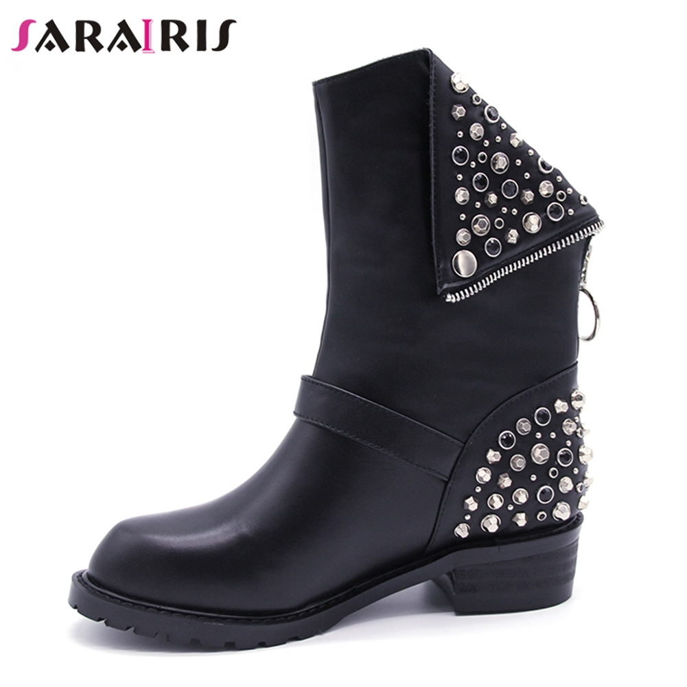 SARAIRIS 2018 new brand design rivets best quality genuine leather mid-calf boots fashion black cow leather womens shoes